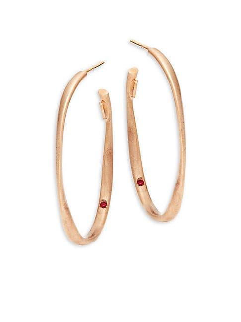 Roberto Coin 18k Rose Gold Twist Oval Hoop Earrings
