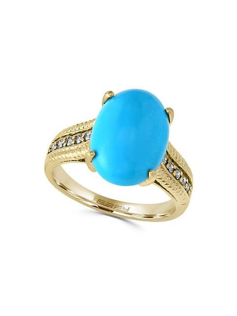 Effy 14k Gold Oval Turquoise & Diamond Embossed Ring