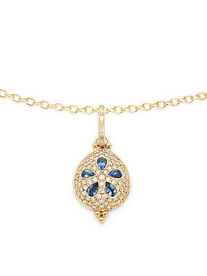 Temple St. Clair Sea Biscuit Sapphire & Diamond Yellow Gold Pendant