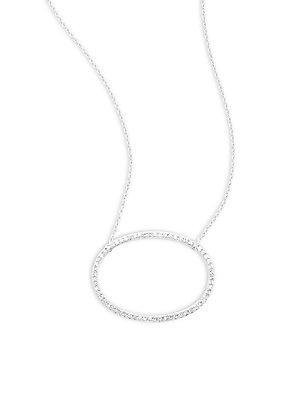 Effy White Diamond & 14k White Gold Oval Necklace Pendant