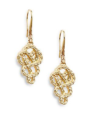 John Hardy Classic Chain 18k Yellow Gold Braided Drop Earrings