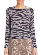 See By Chlo Tiger Printed Mohair Sweater