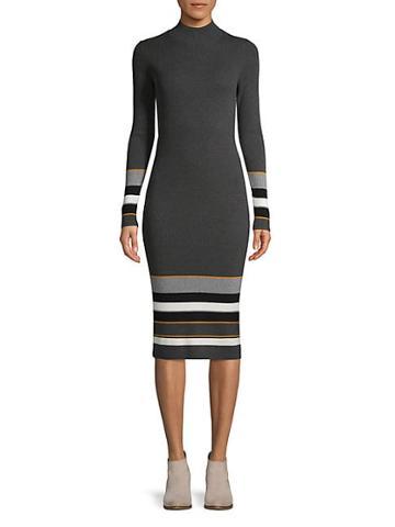 Saks Fifth Avenue Colorblock Cotton Blend Midi-length Dress