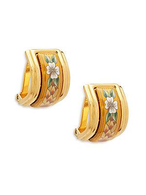 Herm S Vintage Yellow/gold Flower Enamel Earrings