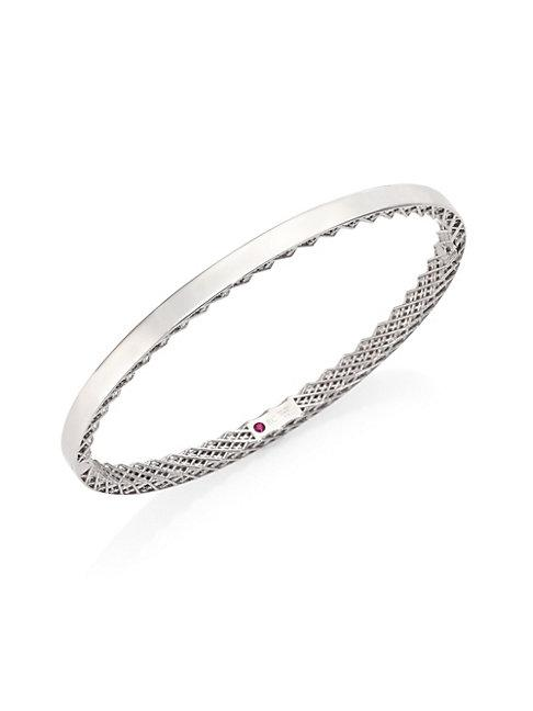 Roberto Coin Symphony Gold Gate 18k White Gold Bangle Bracelet