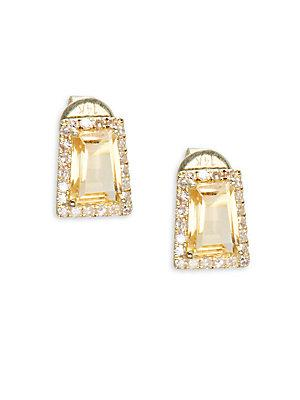 Meira T Diamond Citrine & 14k Yellow Gold Stud Earrings