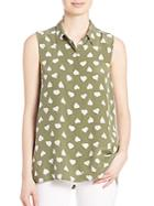 Equipment Milla Heart-print Silk Blouse