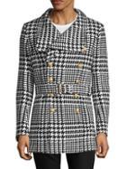 Balmain Belted Houndstooth Coat