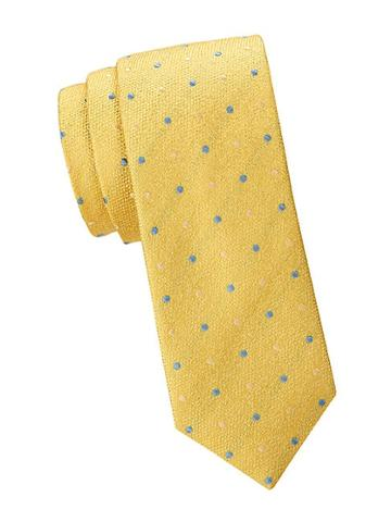 Saks Fifth Avenue Made In Italy Embroidered Dot Silk Tie