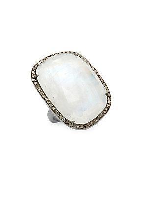 Adornia Moonstone & Diamond Sasha Ring