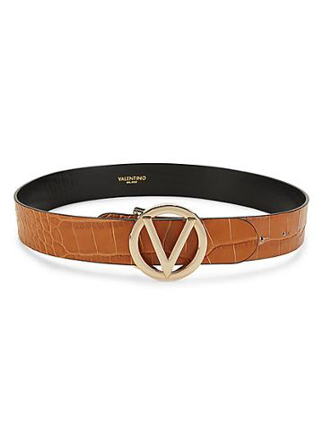 Valentino By Mario Valentino Giusy Croc-embossed Leather Logo Belt