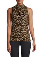 Milly Leopard Mockneck Top