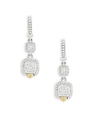 Judith Ripka 18k Gold And Sapphire Square Drop Earrings