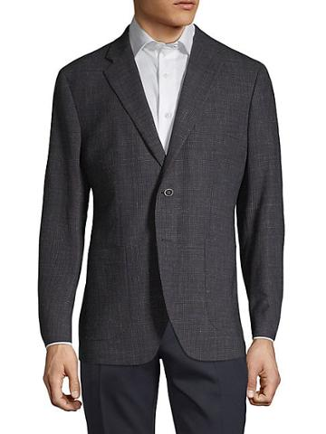 Saks Fifth Avenue Made In Italy Textured Wool & Linen Blend Blazer