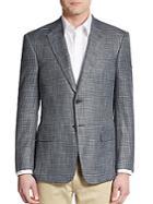 Armani Collezioni Regular-fit Textured Check Sportcoat