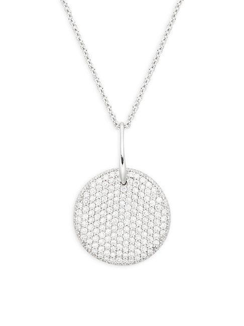 Roberto Coin 18k White Gold & Diamond Disc Pendant Necklace