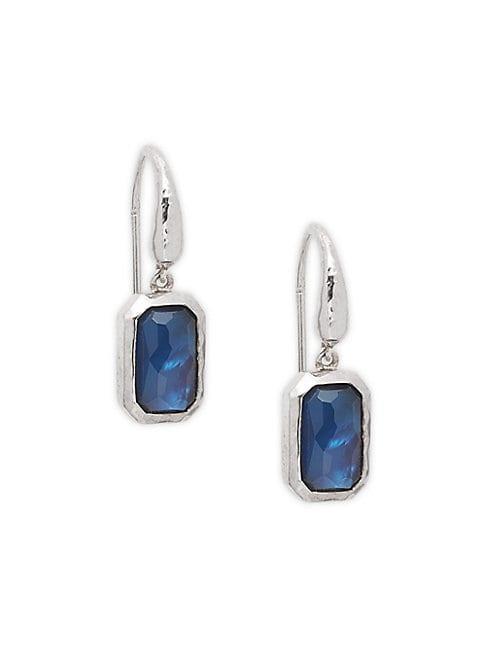 Ippolita Hammered Sterling Silver Cobalt Geometric Drop Earrings