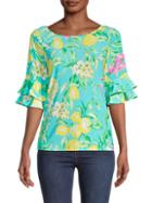 Pappagallo Angelica Lemonade-print Top