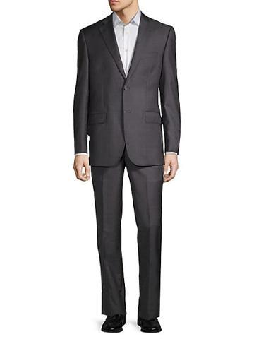 Saks Fifth Avenue Windowpane Plaid Wool Suit