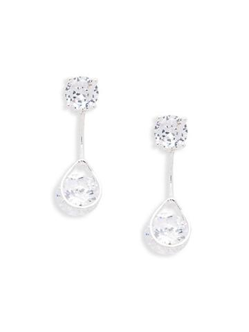 Ava & Aiden Silvertone & Cubic Zirconia Front/back Earrings