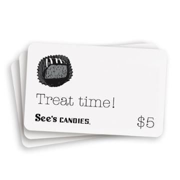 See's Candies Gift Cards ($5 Gift Card Pack) - 25 Pack