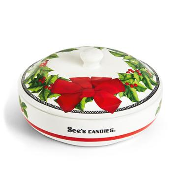 See's Candies Christmas Candy Dish - Single