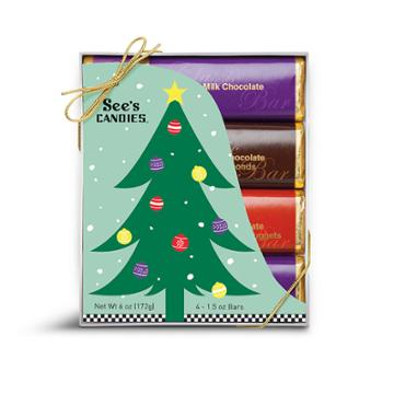 See's Candies Christmas Candy Bars - 4 Pack