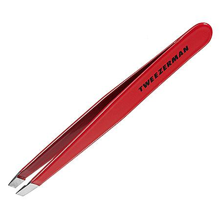 Tweezerman Stainless Steel Slant Tweezer Red