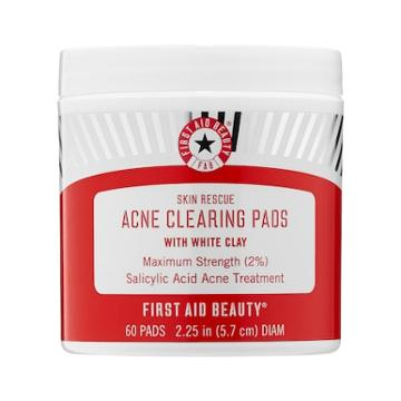 First Aid Beauty Skin Rescue Acne Clearing Pads With White Clay 60 Pads