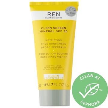 Ren Clean Skincare Clean Screen Mattifying Face Sunscreen Spf 30 1.7 Oz/ 50 Ml