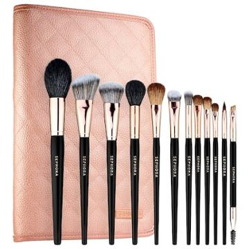 Sephora Collection Pro Essential Brush Set: Rose Gold Edition 12 Brushes