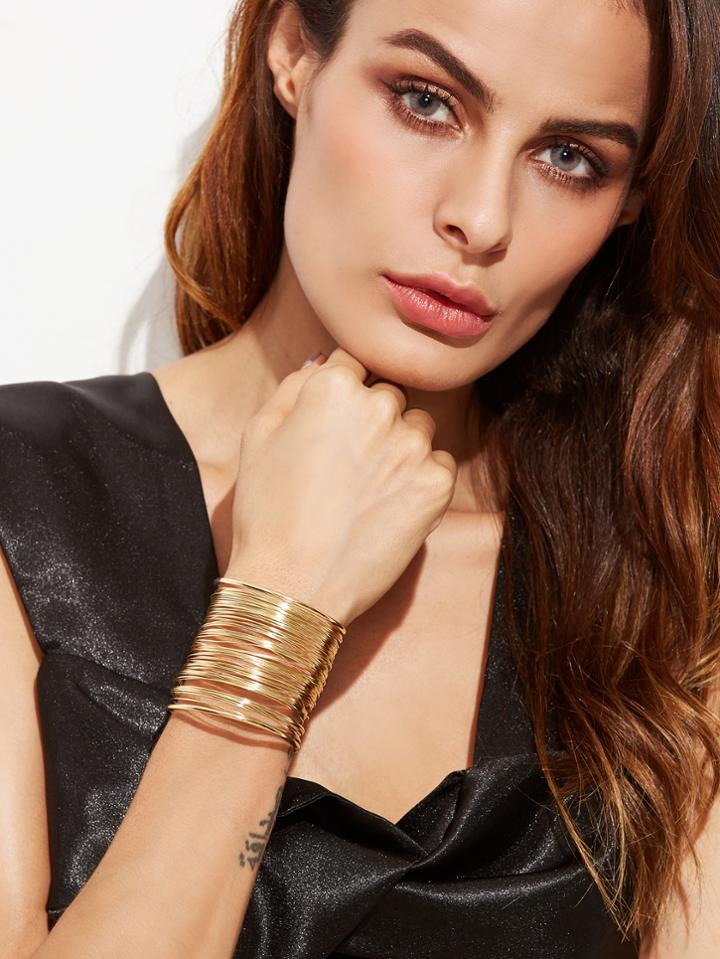 Shein Gold Plated Multi Strand Statement Wrap Bangle
