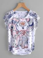 Shein Elephant Print Dolman Sleeve Tee