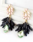 Shein Black Drop Gemstone Tassel Gold Earrings
