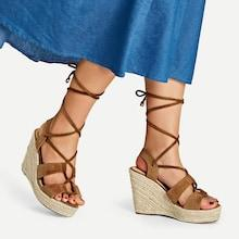 Shein Lace-up Espadrille Wedges