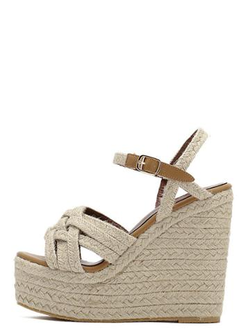 Shein Apricot Peep Toe Buckle Baided Wedge Wedges
