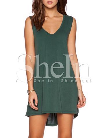 Shein Green Minis Sleeveless Vest Casual Dress