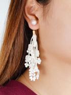 Shein White Hollow Out Lace Flower Pattern Geometric Drop Earrings