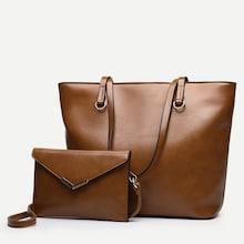 Shein Solid Tote Bag With Flap Wallet