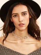 Shein Silver Plated Alloy Circle Hollow Out Choker Necklace