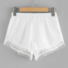 Shein Lace Trim Fringe Tie Shorts