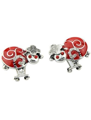Shein Red Glaze Diamond Insect Earrings