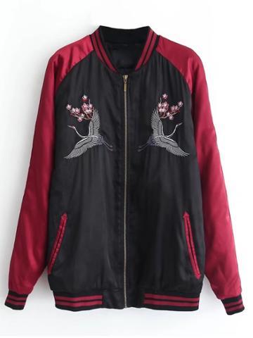 Shein Crane Embroidery Raglan Sleeve Jacket