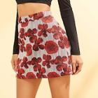 Shein Asymmetrical Flower Embroidered Skirt