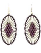 Shein Purple Diamond Gold Hollow Dangle Earrings