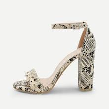 Shein Snakeskin Pattern Ankle Strap Heels