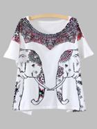Shein White Elephant Print Dolman Sleeve T-shirt