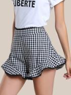 Shein Gingham Lace Trim Flare Hem Shorts