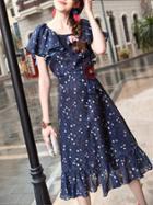 Shein Navy Ruffle Sleeve Floral Frill Dress