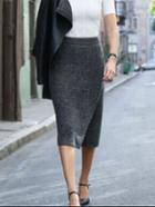 Shein Grey Slim Split Pencil Skirt